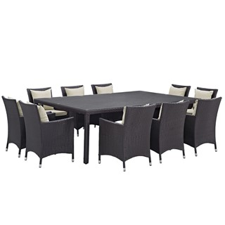 Convene Beige Fabric Rattan 11pc Outdoor Patio Dining Set