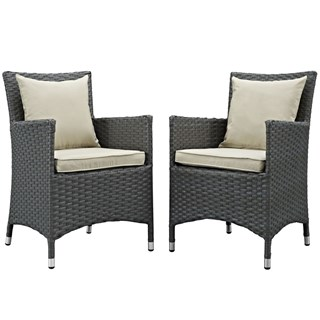 2 Sojourn Antique Beige Fabric Rattan Outdoor Patio Dining Chairs