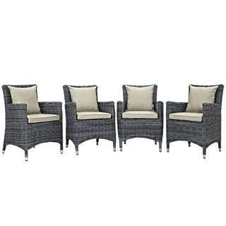 4 Summon Antique Beige Fabric Rattan Outdoor Patio Dining Chairs