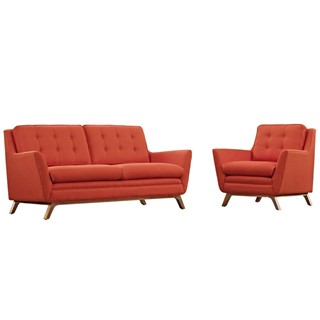 Beguile Mid Century Atomic Red Fabric Solid Wood 2pc Living Room Set