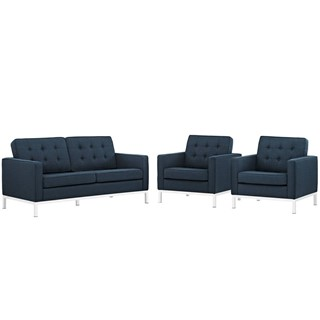 Loft Classic Azure Fabric 3pc Living Room Set Eei 2438 Azu Set