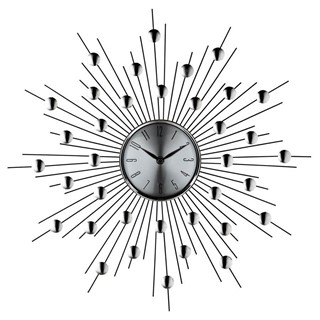 Silver Black Iron Wires,Aluminum Facing Starburst Wall Clock EEI-761