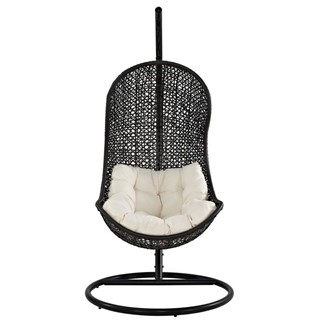 Espresso Pe Rattan Weave With White Cushions Parlay Lounge Chair