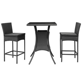 Cerveza Black Rattan Weave Square 3pc Pub Set