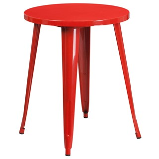 Flash Furniture Modern Red Metal 24 Inch Round Top Indoor Outdoor Table