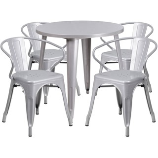 Flash Furniture Silver Metal Indoor Outdoor Table Set With 4 Arm Chairs