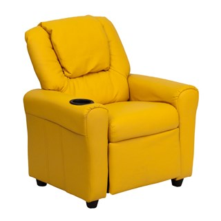 Flash Furniture Yellow Vinyl Kids Recliner With Cup Holder And Headrest