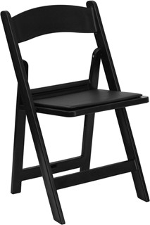 Black Resin Folding Chair w/Black Vinyl Padded Seat