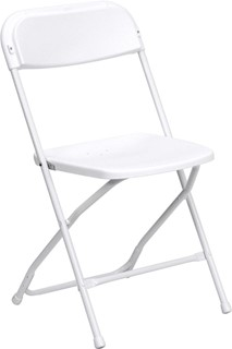 Hercules Series White Metal Plastic Premium Folding Chair
