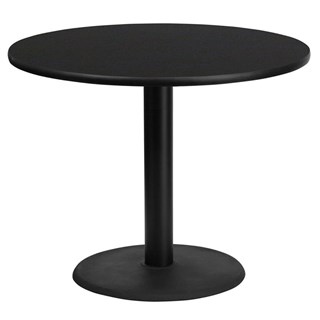 Flash Furniture 36 Inch Round Black Table Top With Table H Base