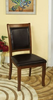 2 Sandy Point Cherry Brown Leatherette Solid Wood Side Chairs
