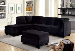 Lomma Contemporary Black Flannelette Fabric Sectional