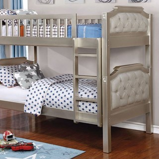 Beatrice Transitional Champagne Fabric Solid Wood Twin/Twin Bunk Bed