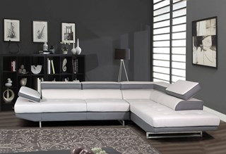 U8137N Series Light Grey Bonded Leather Sectional