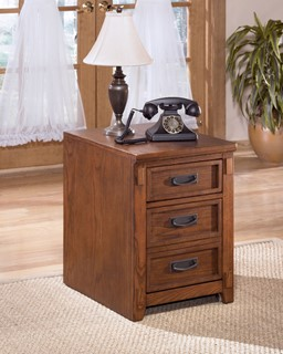 Cross Island Traditional Med Brown Oak Wood File Cabinet