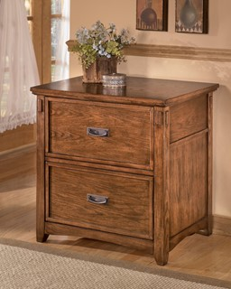 Cross Island Traditional Brown Oak Wood Lateral File Cabinet