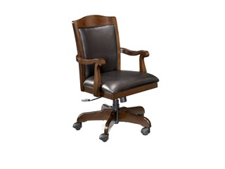 Porter Traditional Brown Wood PVC Home Office Swivel Desk Chair