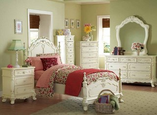 Cinderella White Cherry Wood Mirror Kids Bedroom Set