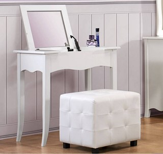 Sparkle Youth White Wood Vinyl Glass Vanity Set W/Ottoman Cube
