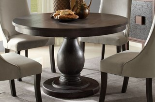 Dandelion Traditional Distressed Dark Brownish Grey Wood Dining Table