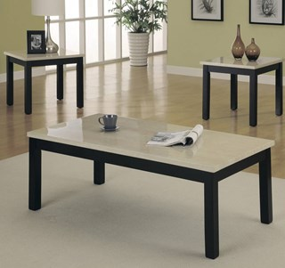 Archstone Black White Faux Marble Top 3 Piece Occasional Table