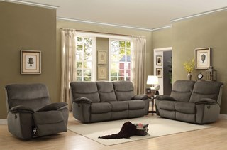 Palila Casual Chocolate Fabric Double Reclining Living Room Set