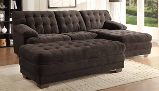 Brooks Rich Dark Brown Leather Sectional