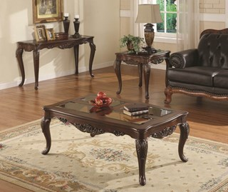 Ella Martin Warm Brown Cherry Wood Glass Insert Coffee Table Set