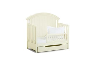 Summer Breeze Cottage Off White Convertible Crib W/ Toddler & Drawer