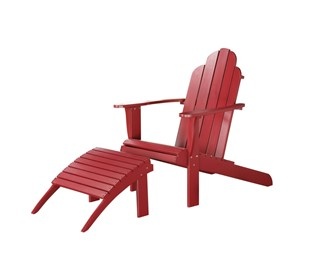 Adirondack Classic Red Solid Wood Outdoor Chair U0026 Ottoman Set