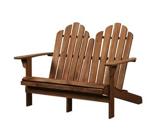 Adirondack Classic Teak Solid Wood Outdoor Double Bench
