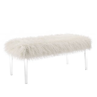 White Wood Acrylic Fabric Faux Flokati Leg Bench