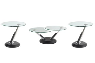 Modesto Casual Synthetic Metal Glass Coffee Table Set