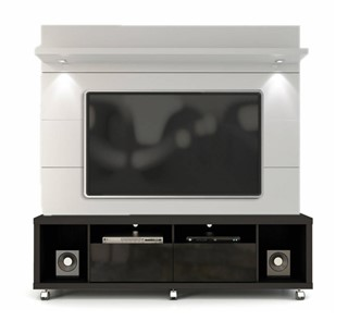 Manhattan Comfort Cabrini Black White Tv Stand