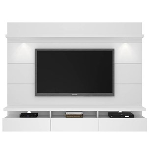 Cabrini 2.2 White Gloss MDF Floating Wall Theater Entertainment Center