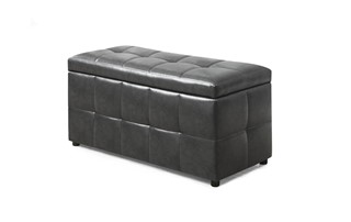Monarch Specialties Grey Polyurethane Storage Ottoman