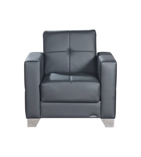 Viva Italia Prestige Black Faux Leather MDF Plywood Arm Chair