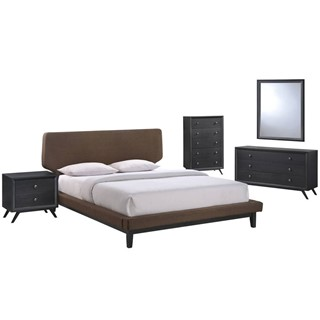 Bethany Modern Black Brown MDF 5pc Queen Bedroom Set