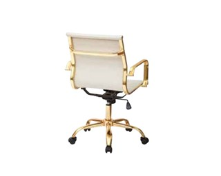 FL Series Thick Padded Cream Faux Leaether Seat & Back Gold Base Chair