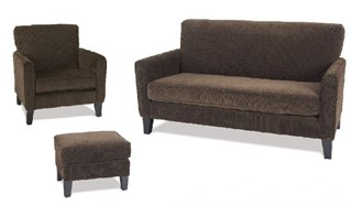 Sierra Transitional Coffee Fabric Solid Wood Living Room Set