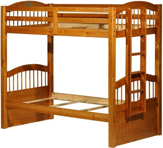 Palace Imports Triplet Honey Pine Twin Over Twin Bunk Bed With Guard Rail