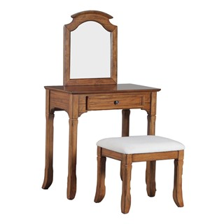 Powell Furniture Warm Oakdale Vanity With Stool