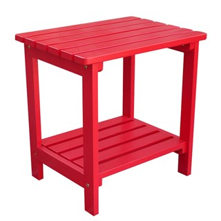Classic Tomato Red Cedarwood Rectangular Outdoor Side Table