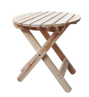 Classic Natural Cedarwood Adirondack Round Outdoor Folding Table