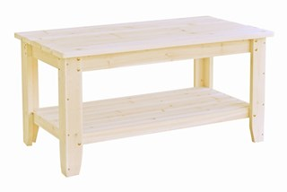 Natural Cedarwood 40 Inch Rectangular Single Shelf Outdoor Chat Table