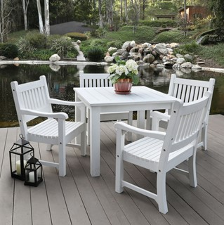 Shine Sunrise White 5pc Patio Dining Set