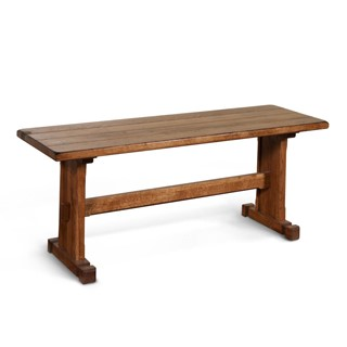 Sedona Rustic Oak Wood Armless And Backless Solid Seat Side Bench