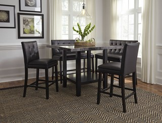 Charmant Standard Furniture Caspian Black 5pc Counter Height Set With Bench