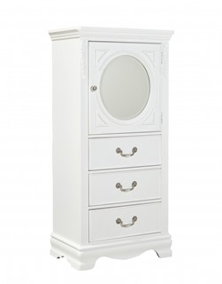 Jessica Cottage White Wood Glass Lingerie Chest