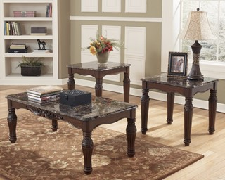 North Shore Traditional Dark Brown Wood Marble 3 In 1 Pack